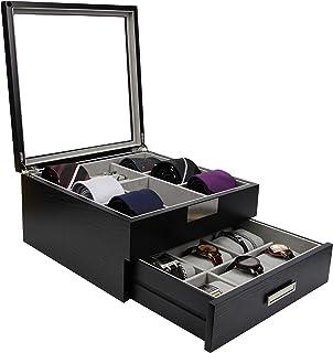 DECOREBAY Luxury Wooden 9 Watch Collection Jewelry Tie Storage Box Valet Organizer (Handsome)
