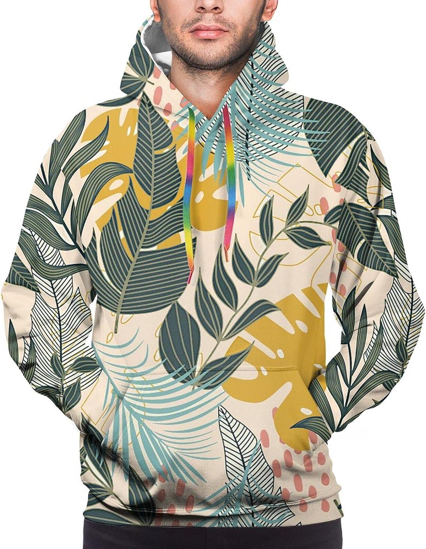 Hoodie For Teens Boys Girls Summer Tropical Leaves Pullover Hooded Sports Sweatshirt