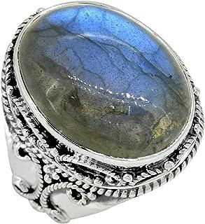YoTreasure Labradorite Ring Solid 925 Sterling Silver Gemstone Jewelry
