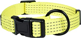 Mile High Life Night Reflective Four Stripes Pull D-Ring ID Tags Hanger Nylon Dog Collar (4 Sizes 4 Colors)