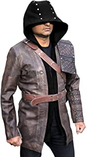 F&H Men's Genuine Leather Merlyn Arthur King Dark Archer Open Front Hooded Coat