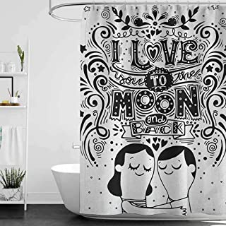 I Love You3D Printed Shower curtainLove Bugs Hugging Eyes Closed Spiritual Relationship Pattern Valentines ArtHotel Quality Machine Washable W72 x L78 Inch Black White