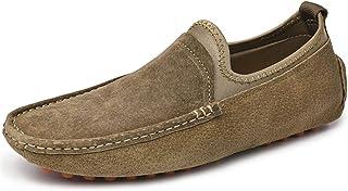 L-YIN Casual Mocassins pour Hommes Léger Grand Taille Bateau Chaussures Bateau Véritable Cuir Daim MOC Toe Slip sur Plat S...