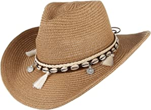 Jelord Women's Summer Straw Cowboy Cowgirl Hat Sun Hats Wide Brim Beach Holiday Straw Hat with Shell Band