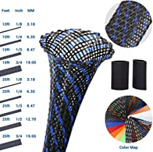 PET Expandable Braided Sleeving 0.5 Inch Wire Loom Wire Sleeving to Protect Your Cables 25Ft Braided Wire Sleeve-BlackBlue
