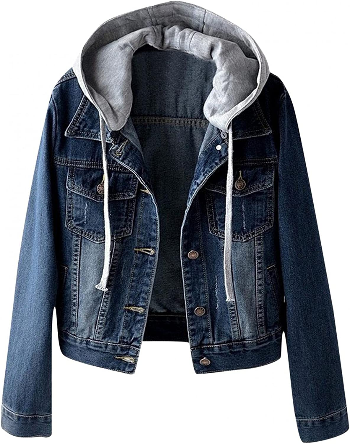 SUIQU Women's Classic Casual Detachable Hoodie Denim Jacket Distressed Button Down Long Sleeve Hooded Jacket with Pocket