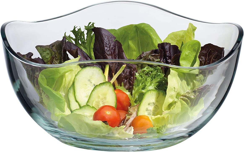 ふりをする強調スツールLarge Clear Glass Wavy Salad Bowl, Mixing Bowl, All Purpose Round Serving Bowl
