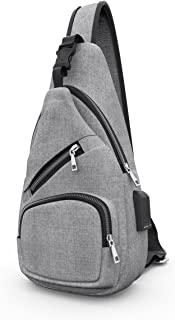 Chest Bag with USB Charging Port Headphone Hole, Oxford Sports Cross Body Bag for College Student Work Men & Women - by LC Prime