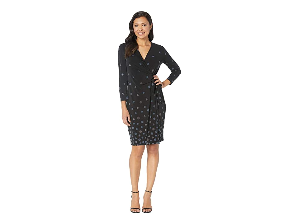 Anne Klein Nathalie Faux Wrap Dress (Anne Black/Versailles Combo) Women