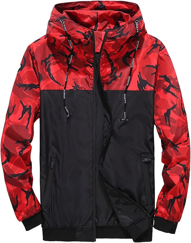 HONGJ Camo Jackets for Mens, Fall Zipper Camouflage Patchwork Drawstring Hooded Sweatshirts Lightweight Windbreaker