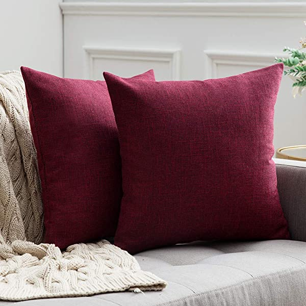 MIULEE Pack Of 2 Decorative Square Throw Pillow Covers Farmhouse Style Linen Cushion Cases Vintage Decor Cranberry Red Pillow Cases For Couch Sofa Bedroom Car 18 X 18 Inch 45 X 45 Cm