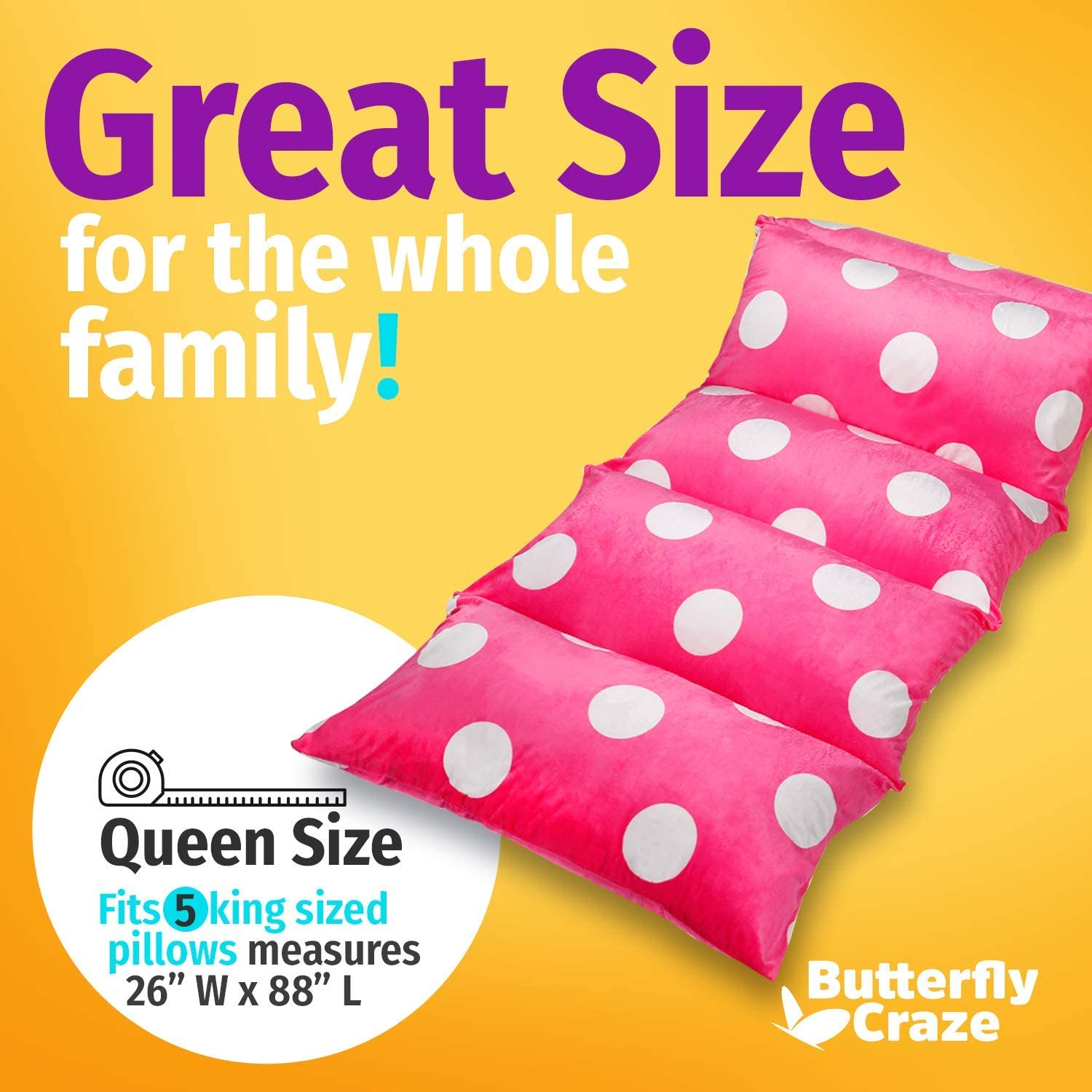 Butterfly Craze Pillow Bed Floor Lounger Cover Perfect for Pillow Recliners /& Kid Beds for Reading Playing Games or at a Sleepover or Slumber Party Queen Light Pink Polka Dot