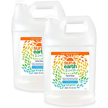 Hand soap by sun & earth, safer around kids & pets, unscented, 128 fl oz bulk size (pack of 2)