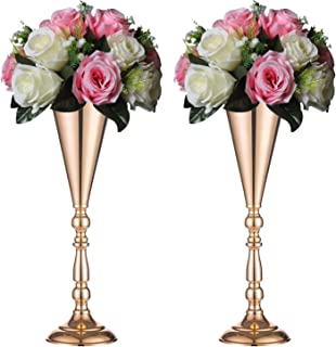 Sziqiqi Set of 2 Tall Metal Wedding Centerpieces for Reception Tables, Gold Flower Vase Stand, Base Decortion for Party, Events, Birthday, Celebration Ceremonies, L × 2