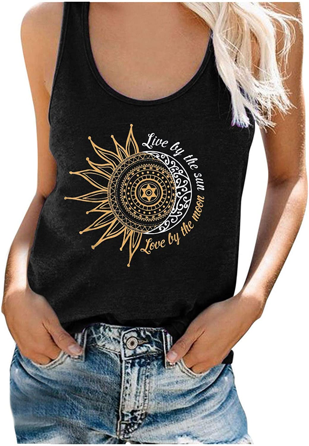 AODONG Tank Tops for Women, Fashion Womens Casual Summer Loose Fit Sleeveless Tank Tees Shirts Blouses Vest Tops