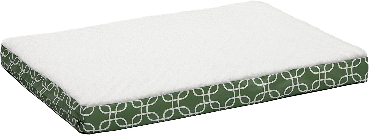 Midwest Homes for Pets DO3040TFGR Orthopedic Dog Bed with Removable Dog Bed Cover, Green White Geometric Pattern, Large Dog Breed, 30 x 40