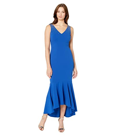 Calvin Klein High-Low Gown with Embellished Shoulder (Regatta) Women