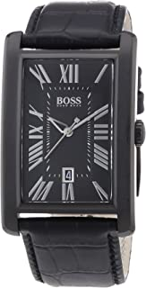 Hugo Boss Black Dial Black Leather Mens Watch 1512709