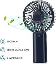 Portable Personal Fan, Mini Hand Held Fan, Desktop Handheld Fan, USB Rechargeable Battery Operated Fan, 4000mAh, 3 Speed Settings, Quick Charging, Strong Wind Fan for Trip, Home, Office (Royal)