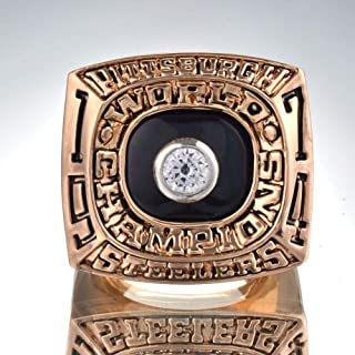 AJZYX 1974 Pittsburgh Steelers Super Bowl Championship Ring Collectible Souvenir for Gifts Without Box Size 9-12