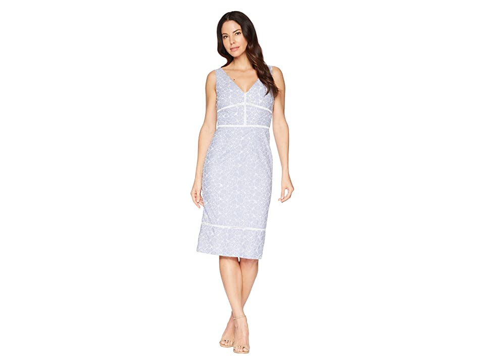 Maggy London Pincord Embroidery Novelty Sheath Dress (Blue/White) Women