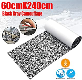 "CHURERSHINING EVA Teak Decking Sheet Marine Flooring Adhesive Carpet Black Grey Camouflage 94.5""x 23.6"" Yacht Embossed Non Skid Material Mat"