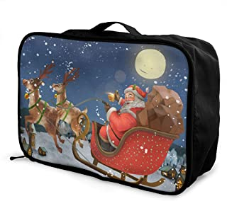 OVHIWYH Cartoon Santa Ride Sleigh Deliver Presents Lightweight Large Capacity Portable Luggage Bag Travel Organizer