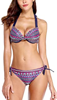 ALove Women Underwire Twist Front Bikini Set Halter Bathing Suit 2 Piece Swimsuits