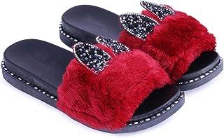 WMK Women's Slippers Indoor House or Outdoor Latest Fashion Maroon Cute furr Flipflop Slipper for Women