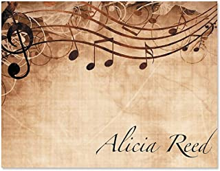 Sheet Music Personalized Note Card Set - 24 cards & envelopes, 4-1/4