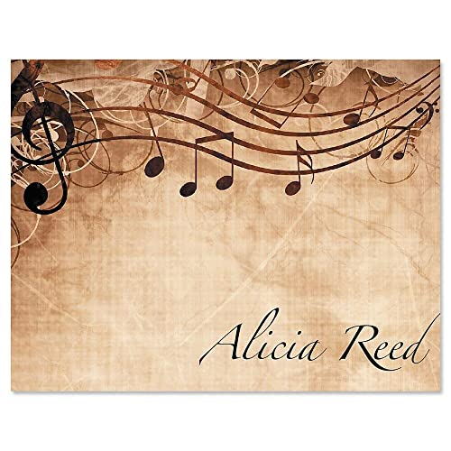 """Sheet Music Personalized Note Card Set - 24 cards & envelopes, 4-1/4"""" x 5-1/2"""" blank inside, Add a Name, Music Teacher Gift, Musician Gift, Thank You Card"""