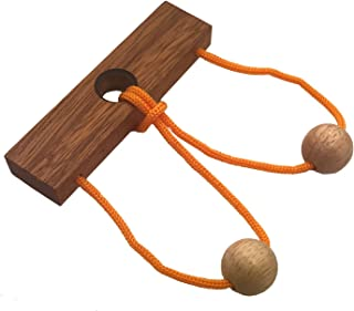 Two Lovers String Rope Ring Puzzle - Wood IQ Brain Teaser Mind Game