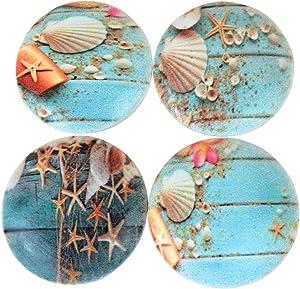 Set of 4 Blue Boardwalk Seashells Wood Cabinet Knobs