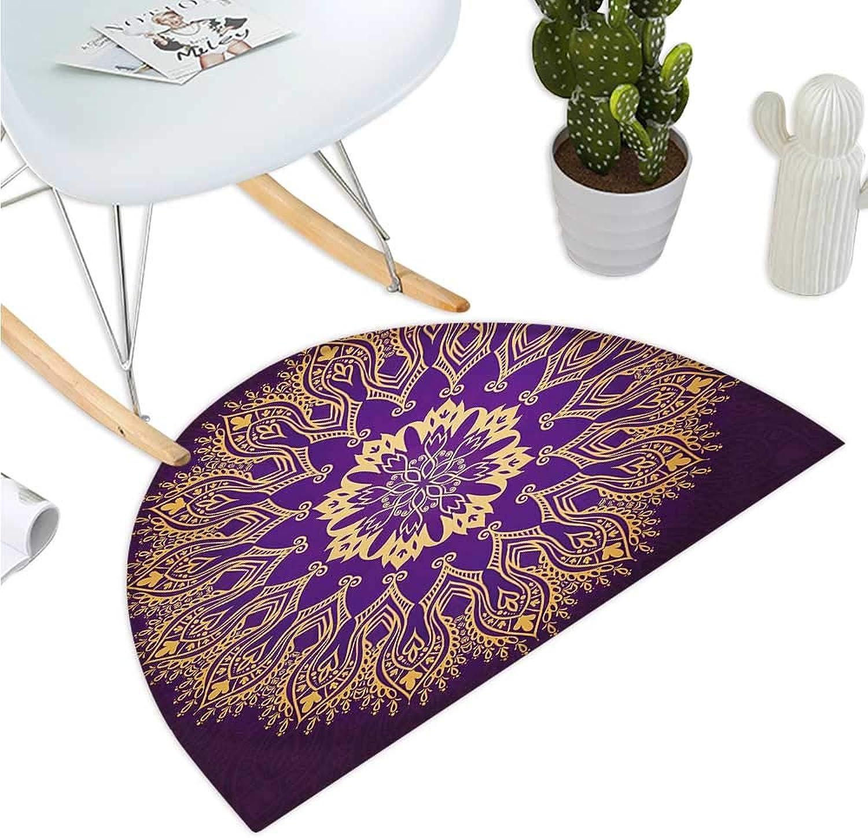 Mandala Semicircular Cushion Round Bohemian Arabesque Motif Leaves Figure Folkloric Ethnic Print Bathroom Mat H 47.2  xD 70.8  purple Purple and Yellow