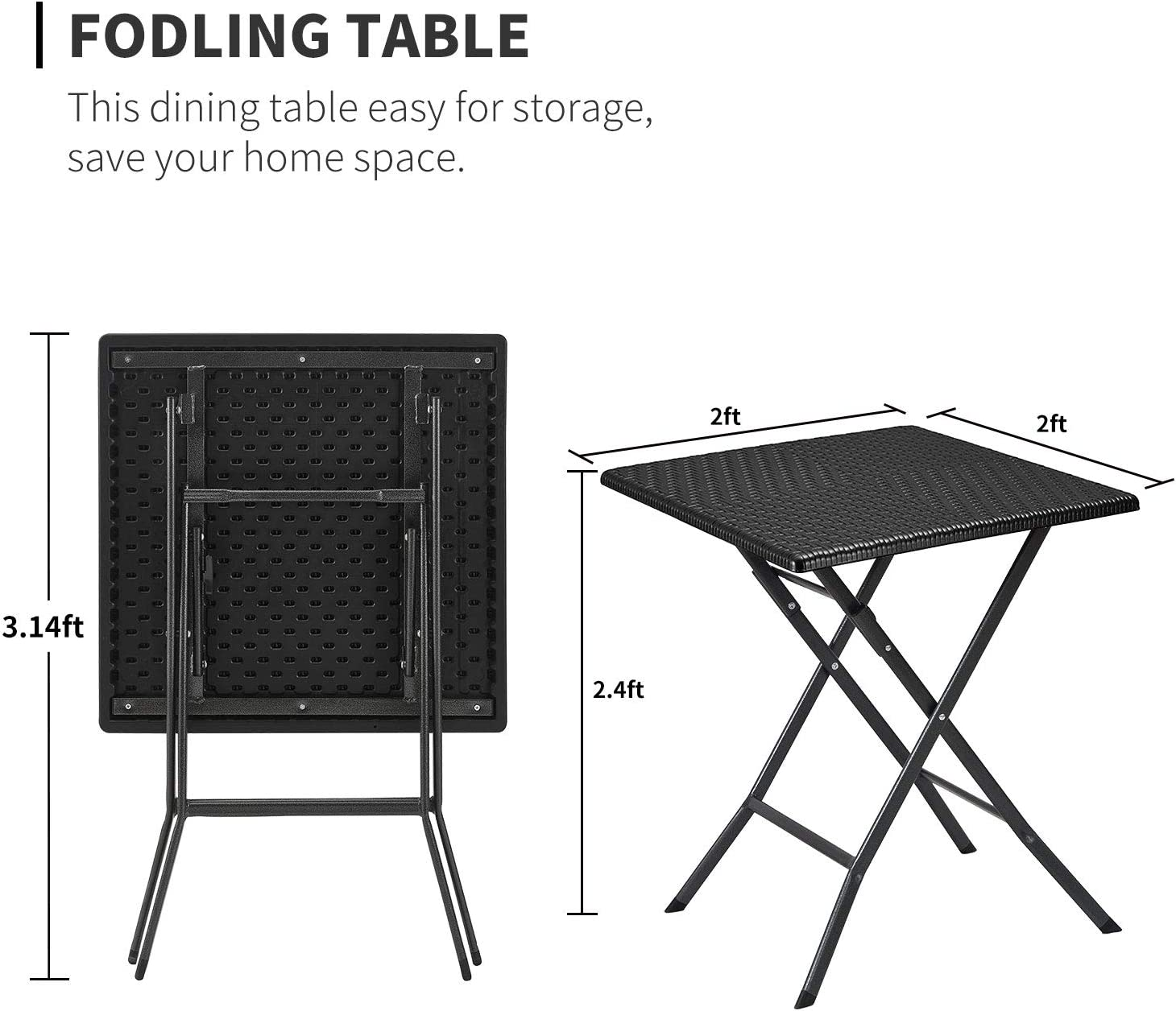 Home Office Desk Aneken Folding Table 4ft Fold-in-Half 17lbs Portable Picnic Table Outdoor Indoor with Carrying Handle Plastic Faux Rattan Black Foldable Table for Camping Dining Party Game Card