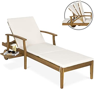 Best Choice Products 79x30in Acacia Wood Outdoor Chaise Lounge Chair w/Adjustable Backrest, Table, Wheels - Cream
