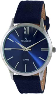 Peugeot Women Slim Case Casual Wrist Watch w/Matching Canvas Wool Strap