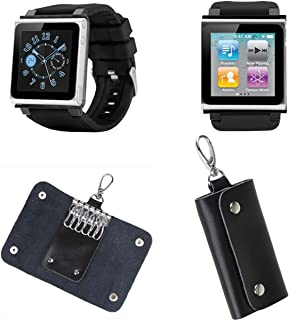 PiGGyB Classic Watch Band Case Cover Leather Key Holder Case Set for Apple iPod Nano 6 6th Generation (Black)