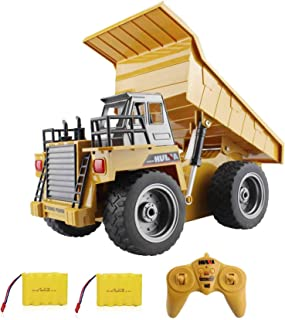AIWEILUCK RC Truck 6 Channel Remote Control Construction Dump Truck with Lights & Sounds, RC Truck Toy 4 Wheel Driver, 2.4G Alloy Construction Vehicle Toy 4WD, 1:18, for Boys Gift Birthday Christmas