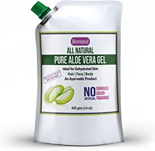 BONSOUL All Natural and Pure Aloe Vera Gel   99% Aloe Vera   Ideal for Dehydrated Skin   Hair, Face and Body (400 GMS)