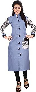 Om Sai Latest Creation Women's Stitched Cotton Printed A-Line Kurti