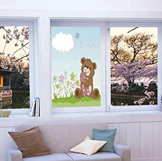 YOLIYANA Vinyl Window Film,Kids,Work Well in The Bathroom,Cartoon Style Cute Teddy Bear with Toy in,24''x36''