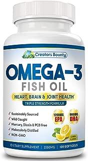 Omega-3 Fish Oil Triple Strength 2250mg (1200mg EPA, 900mg DHA) Burpless w Lemon