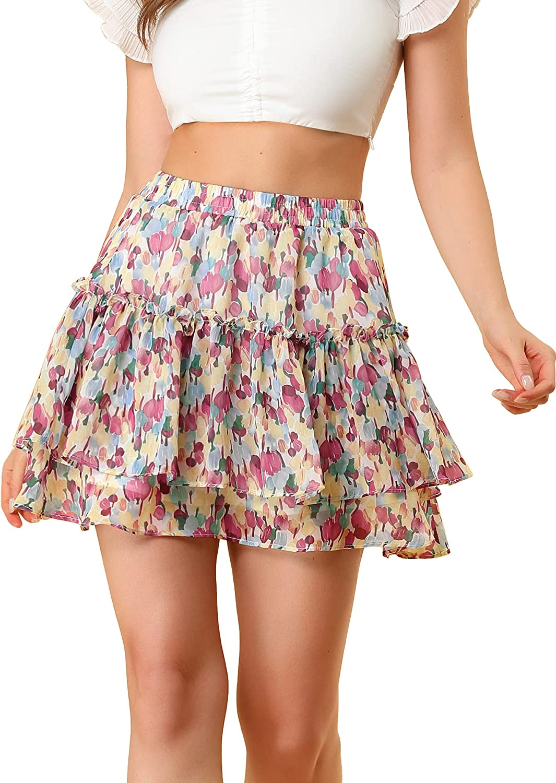 Allegra K Women's Floral Tiered Ruffle Skirts Cute Summer Mini Skirt