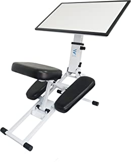 The Edge Desk Ergonomic Kneeling Chair and Desk.  Adjustable and Portable. Encourages Proper Upright Sitting, Reduces Fatigue and Pain