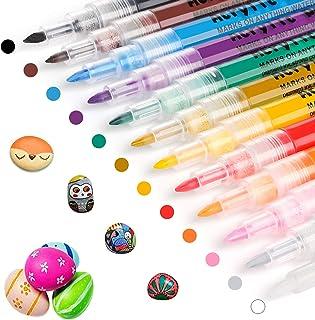 RATEL Peinture Acryliques Stylos, 12 Couleurs Marqueur Peinture Acrylique Premium Permanent Feutre Acrylique Stylo Peintur...