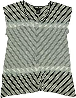 Calvin Klein Womens Short Sleeve Striped Shirt
