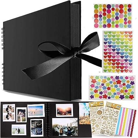 Album Photo à Coller Album Photos Scrapbooking,Albums Photos 80 Pages Noir,Album Photo Scrapbooking,Album de Bricolage Comme Cadeau Pour les Amoureux, Parents, Enfants, Parents, Amis (Noir)