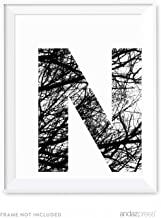 Andaz Press Monogram Wall Art Print Poster, Black and White Tree Branches Nature Photography Collection, Letter N, 8.5x11-inch Sign, 1-Pack, Simple Minimalist