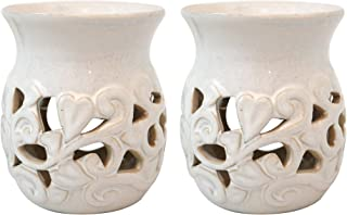 Hosley's Set of 2 White Ceramic Oil Warmer 4.3 Inch High Use with Tea Lights. Ideal for Spa and Aromatherapy. Use with Hosley Brand Essential Oils and Fragrance Oils. O3